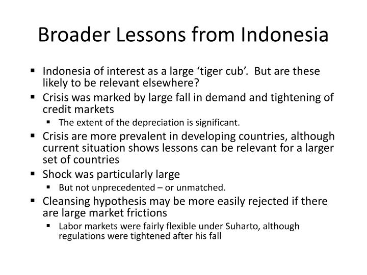 Broader Lessons from Indonesia