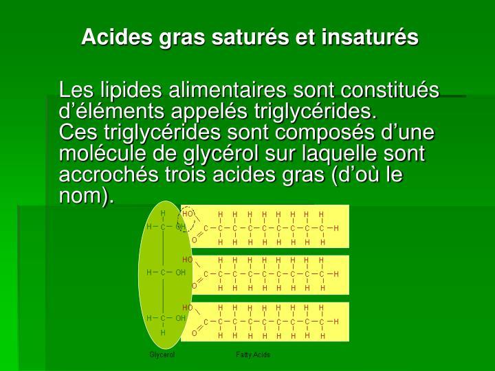 Acides gras saturés et insaturés