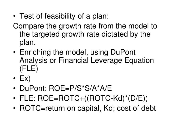 Test of feasibility of a plan: