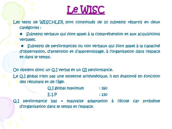Le WISC