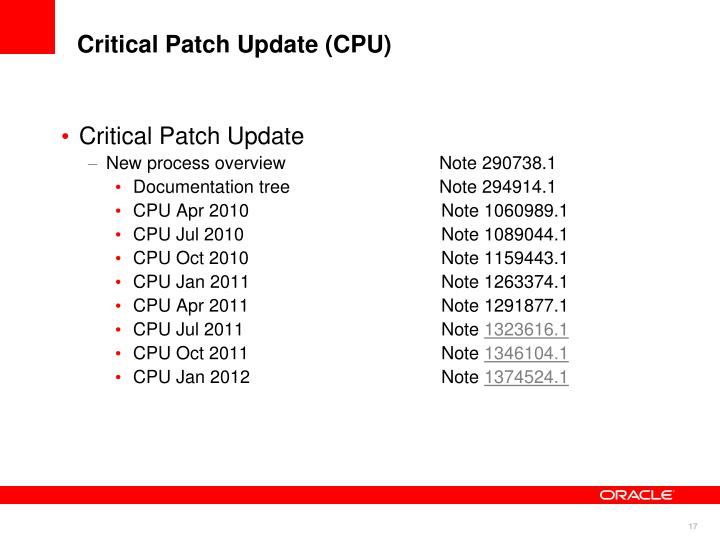 Critical Patch Update (CPU)