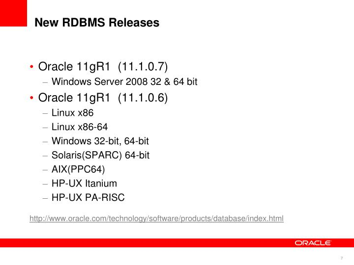 New RDBMS Releases
