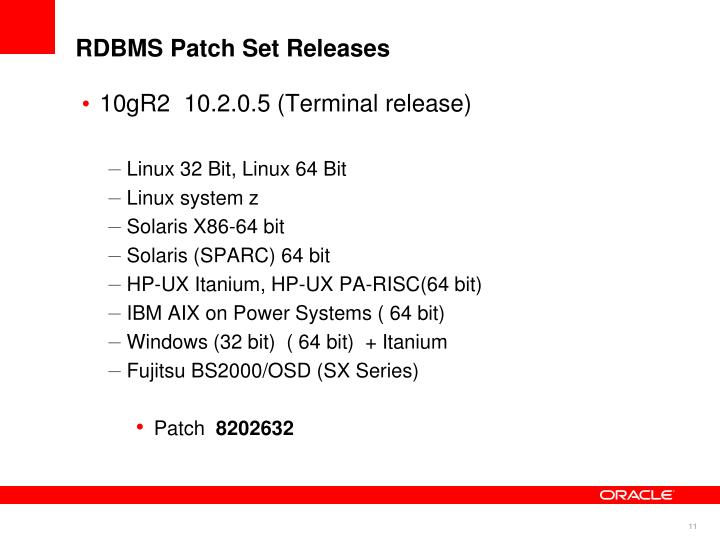 RDBMS Patch Set Releases