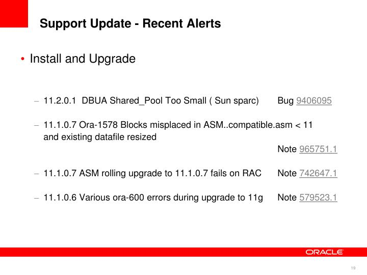 Support Update - Recent Alerts