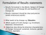 formulation of r esults statements