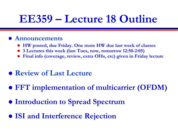 EE359 – Lecture 18 Outline