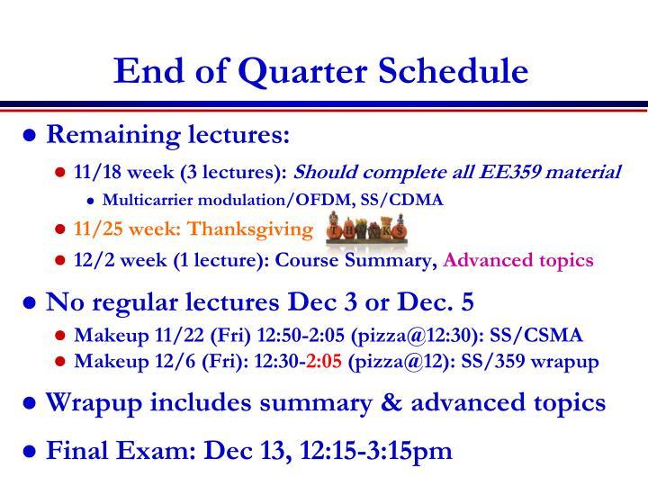 End of Quarter Schedule