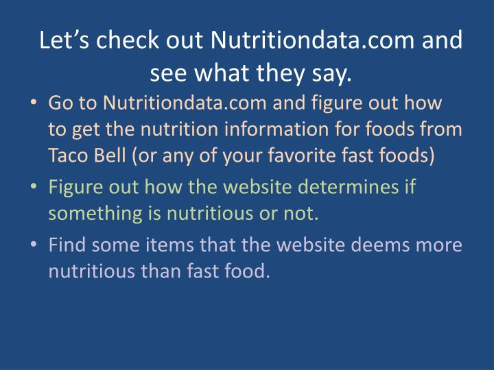 Let's check out Nutritiondata.com and see what they say.