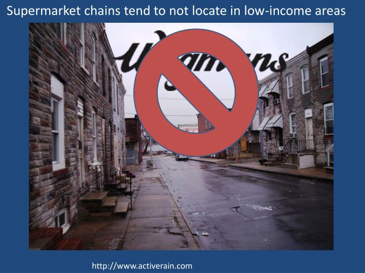 Supermarket chains tend to not locate in low-income areas