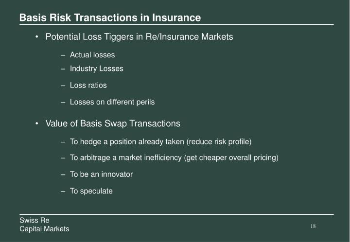 Basis Risk Transactions in Insurance