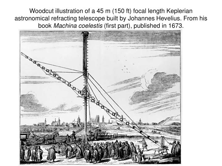 Woodcut illustration of a 45 m (150 ft) focal length Keplerian astronomical refracting telescope built by Johannes Hevelius. From his book