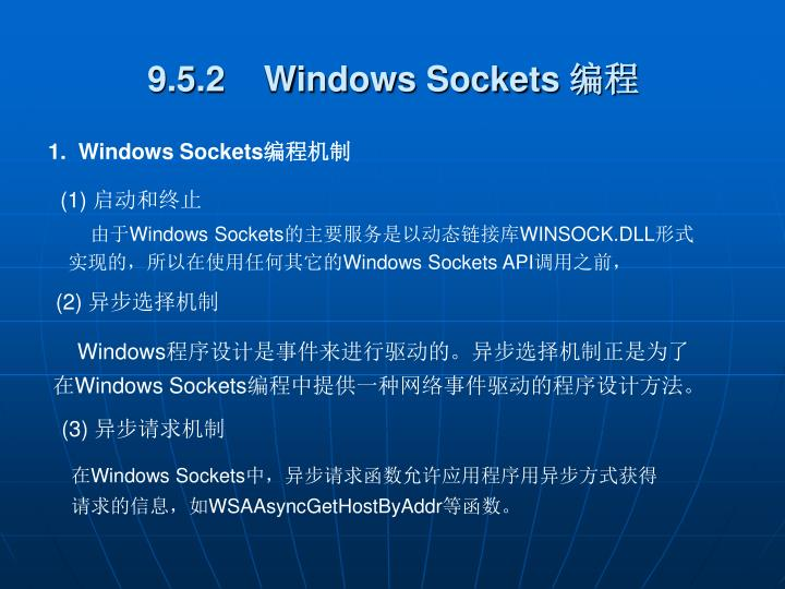 9.5.2    Windows Sockets