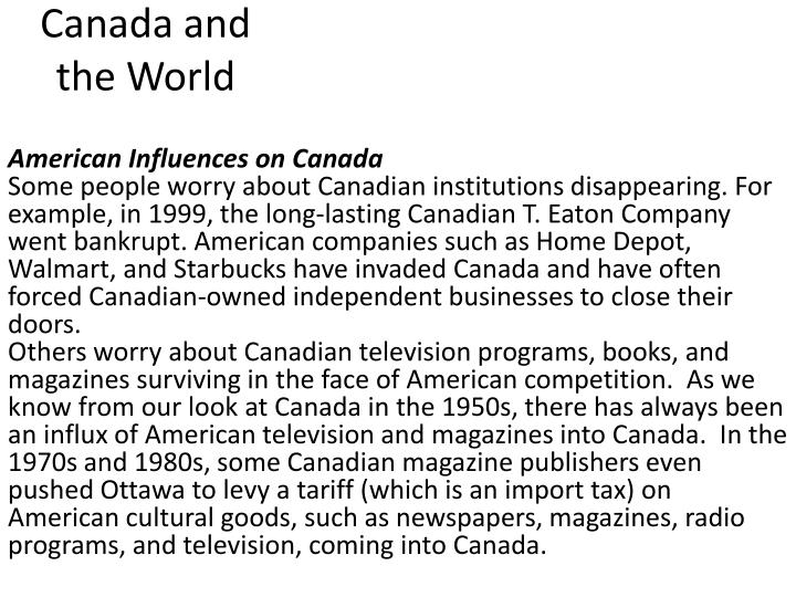 American Influences on Canada