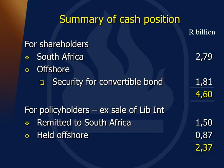 Summary of cash position