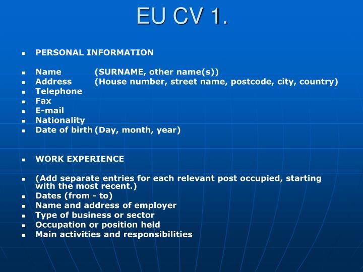 EU CV 1.