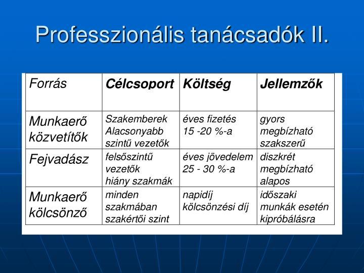 Professzionális tanácsadók II.