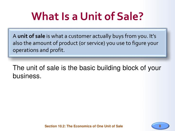 What Is a Unit of Sale?