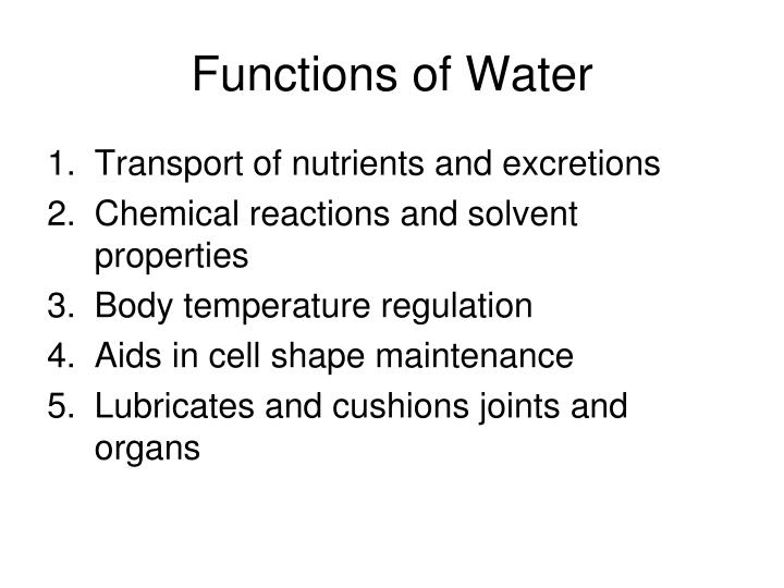 Functions of Water