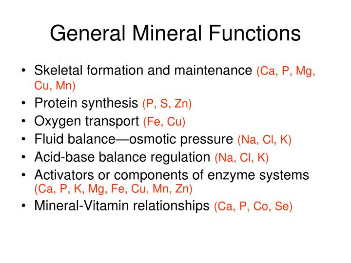 General Mineral Functions