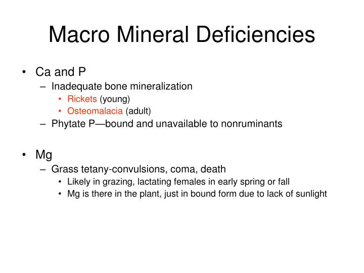 Macro Mineral Deficiencies