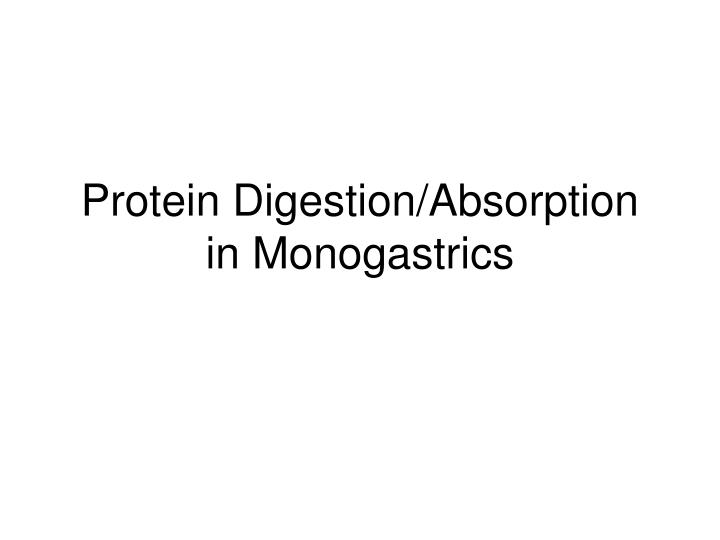 Protein Digestion/Absorption in Monogastrics
