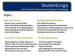 studentlingo on demand student success support workshops