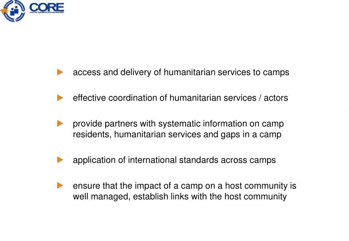 access and delivery of humanitarian services to camps