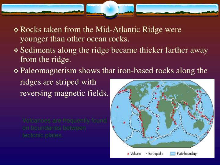Rocks taken from the Mid-Atlantic Ridge were younger than other ocean rocks.