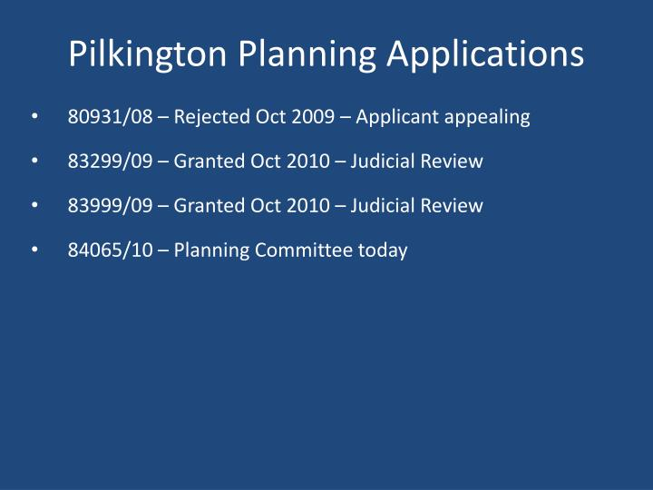 Pilkington Planning Applications