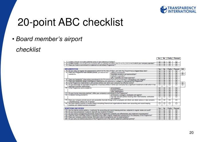 20-point ABC checklist