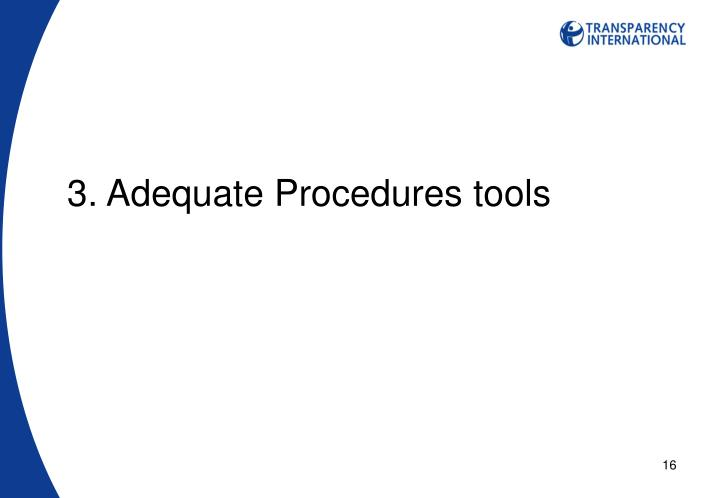 3. Adequate Procedures tools