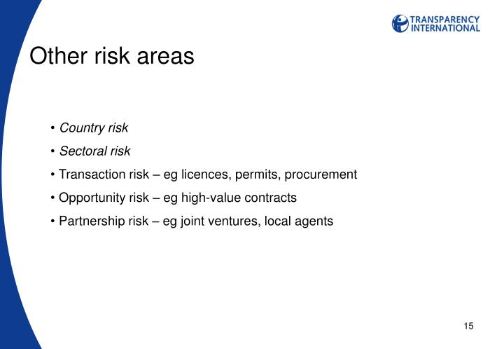 Other risk areas
