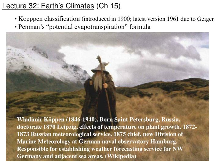 Lecture 32: Earth's Climates