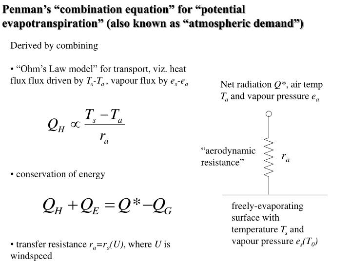 "Penman's ""combination equation"" for ""potential evapotranspiration"" (also known as ""atmospheric demand"")"