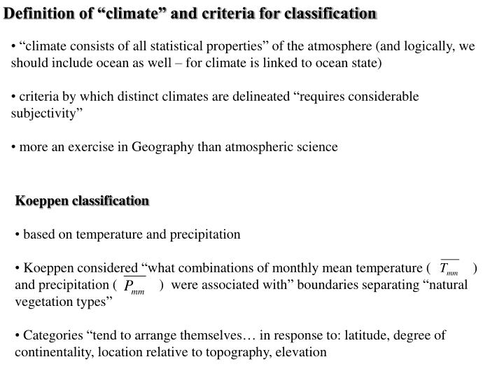 "Definition of ""climate"" and criteria for classification"