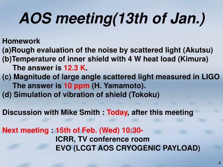 AOS meeting(13th of Jan.)