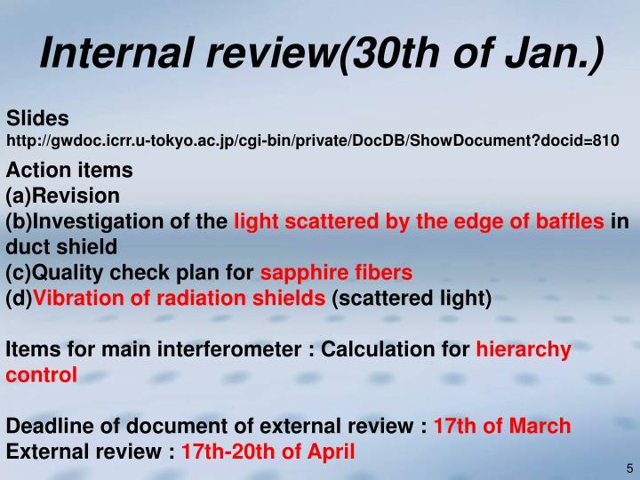 Internal review(30th of Jan.)