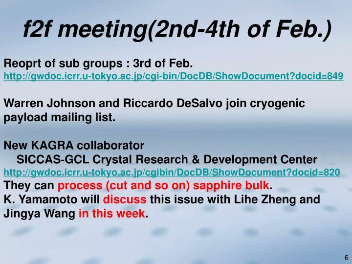 f2f meeting(2nd-4th of Feb.)