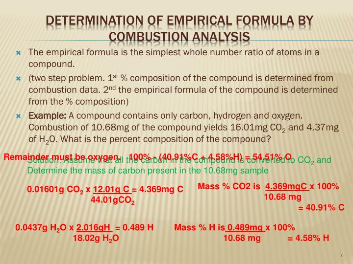The empirical formula is the simplest whole number ratio of atoms in a compound.