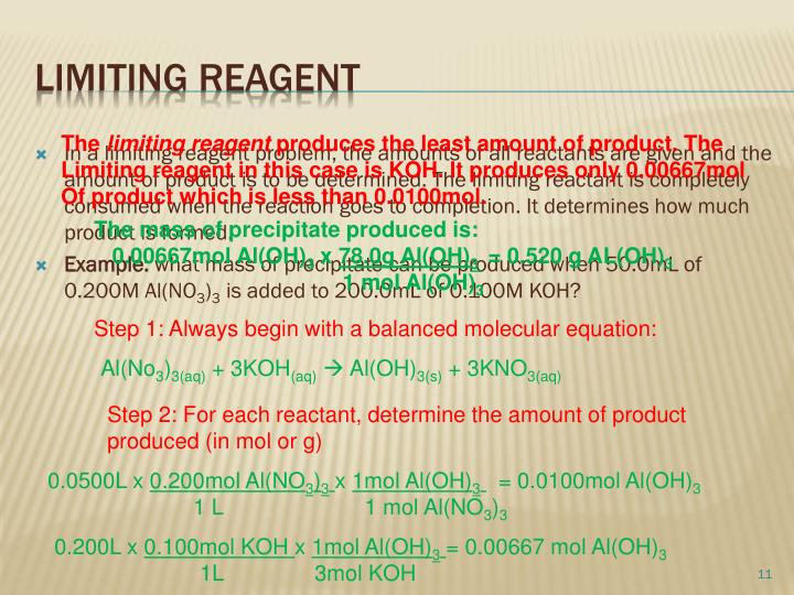 In a limiting reagent problem, the amounts of all reactants are given and the amount of product is to be determined. The limiting reactant is completely consumed when the reaction goes to completion. It determines how much product is formed.