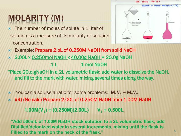 The number of moles of solute in 1 liter of