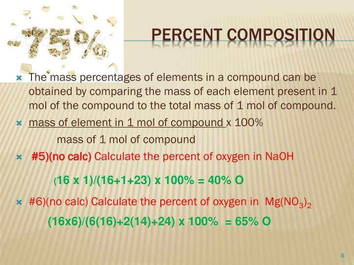 The mass percentages of elements in a compound can be obtained by comparing the mass of each element present in 1 mol of the compound to the total mass of 1 mol of compound.