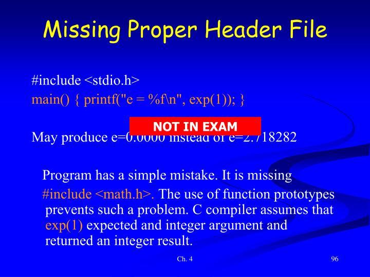Missing Proper Header File