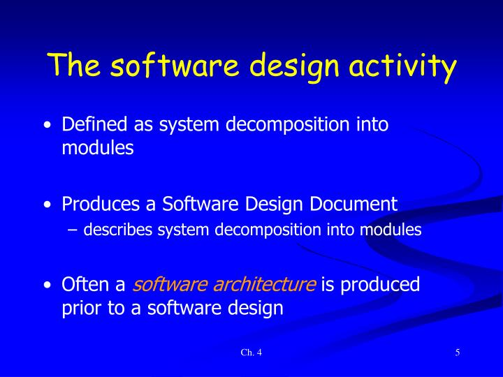 The software design activity
