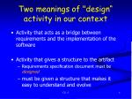 two meanings of design activity in our context