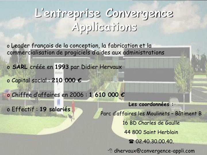 L'entreprise Convergence Applications