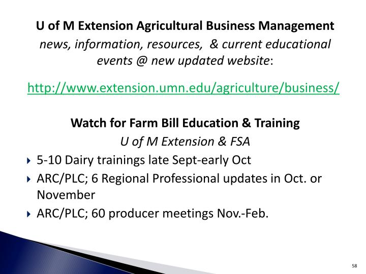 U of M Extension Agricultural Business Management