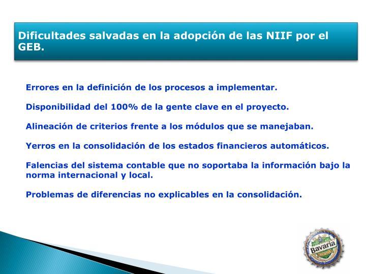 Dificultades salvadas en la adopción de las NIIF por el GEB.