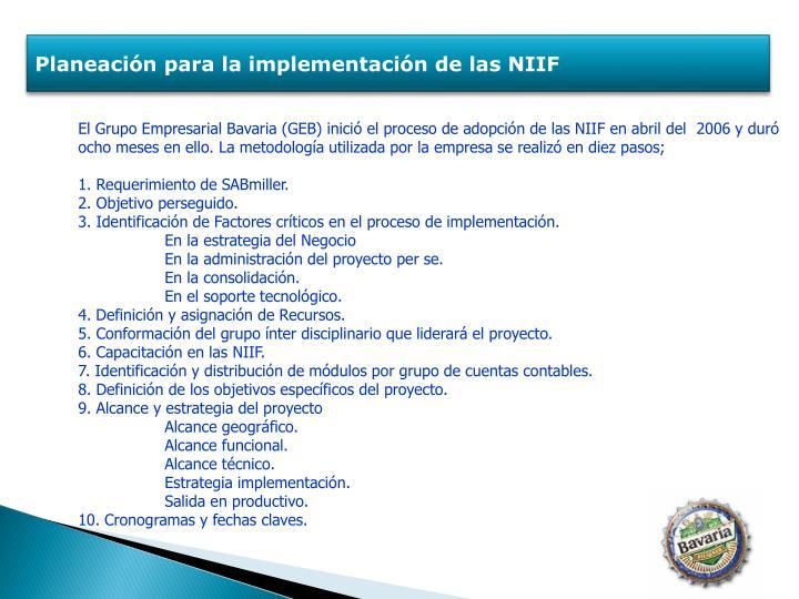 Planeación para la implementación de las NIIF