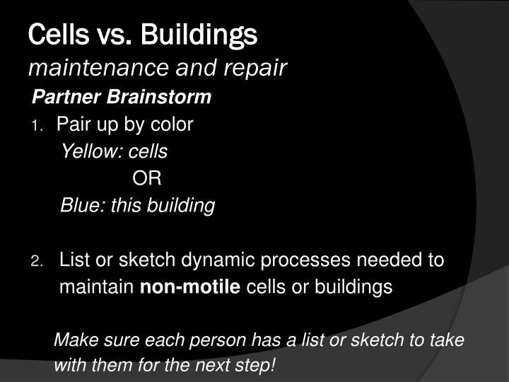 Cells vs. Buildings